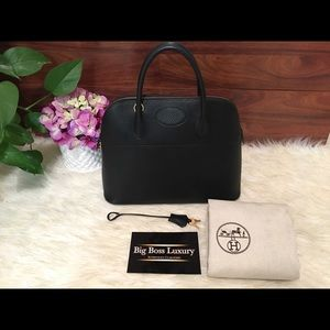 Authentic Preowned Hermes Black Bolide 35 GHW